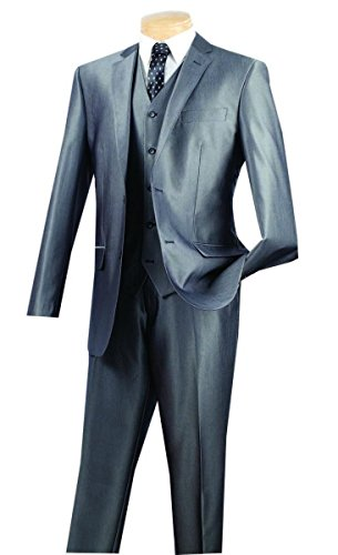 Vinci 2 Button Single Breasted Slim Fit Textured Solid Suit W/Vest - Skin Mens Suit