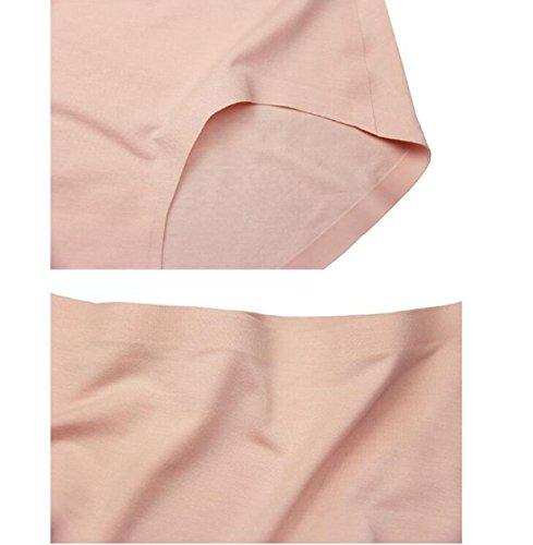 POKWAI Ultra-cómoda Ropa Interior Clásica De Las Mujeres Modal Tejido Sin Costuras Cómodos Pantalones De Cintura Triángulo De Color Sólido 3 Paquetes A7