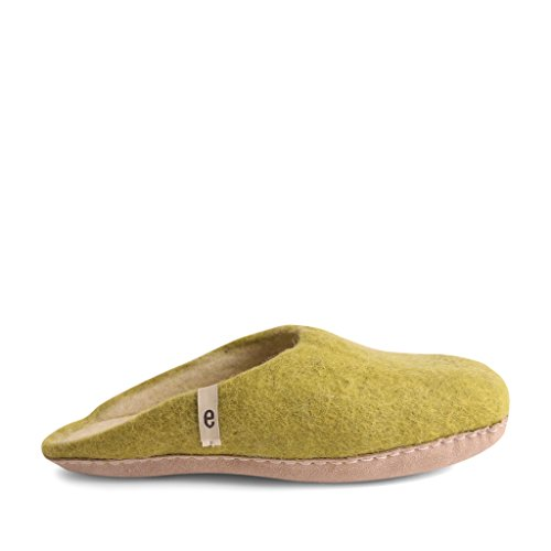 Egos House Slippers: 100% Natural Sheep Wool Handmade Slippers| Warm, Ultra Comfortable & Moisture-Wicking| Deluxe Slip On Slippers with Anti-Skid Leather Sole| Bedroom Lime Green