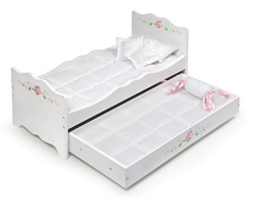 Badger Basket Rose Doll Bed with Trundle (fits American Girl Dolls), White