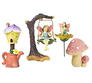 Jardín de hadas–Juego de 4figuras de hadas en miniatura con accesorios, decoraciones de jardín para al aire libre, césped, y decoración del hogar