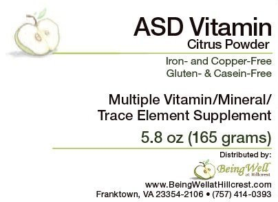 ASD Vitamin Powder for Children with Autism Spectrum Disorder Multiple Vitamin/mineral/trace Element Supplement- 5.8 oz (Best Supplements For Autism)