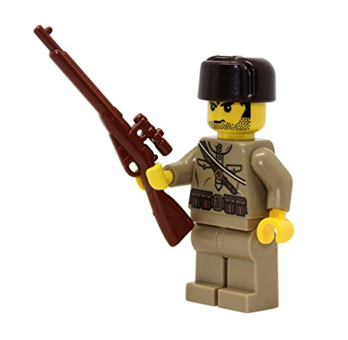 Modern Brick Warfare Russian WW2 Soldier Sniper Custom Minifigure