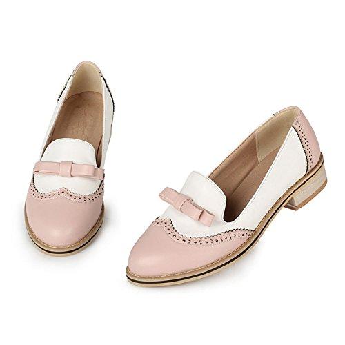 Rritoce Women's Shoe Cute Bow Low Flat Heel Multi Color Oxford Pink4 .5B (M) US - Oliver Shop Online St