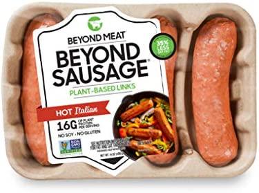 Beyond Sausage from Beyond Meat, Plant-Based Dinner Sausage Links, Frozen, Hot Italian, 4 Links per Package (14oz.)