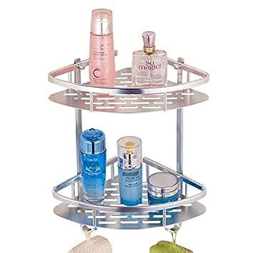 Aleación de aluminio esquinera para baño estantes, estante para ducha cesta de jabón champú toalla gancho doble para pared estante organizador: Amazon.es: ...
