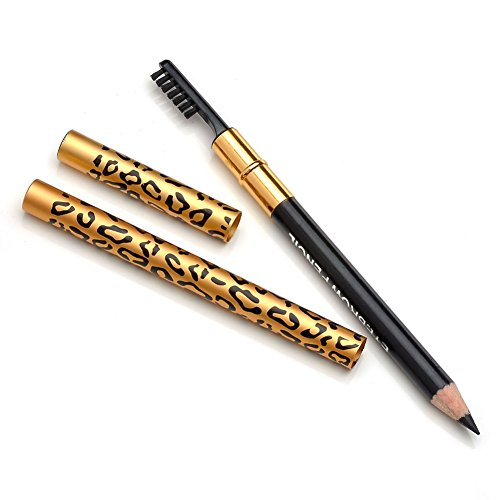 CCbeauty 1pc Waterproof Long Lasting Leopard Eyeliner with Brush Eyebrow Pencil Comestic Makeup Tool,#1Black