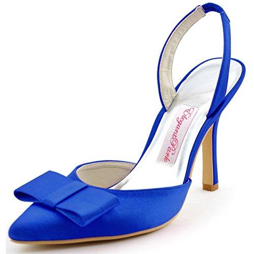 ElegantPark HC1404 Women's Pointy Toe Stiletto Heel Slingbacks Bow Satin Evening Party Dress Pumps Blue US 9 (Satin Bow Dress Heel Pump)