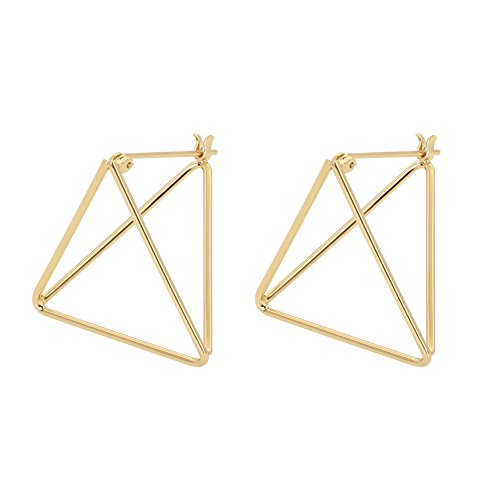 - Rugewelry Geometric 3D Cube Square Triangle Earrings 18k Gold Plated Stud Earrings For Women,Girls' Gifts