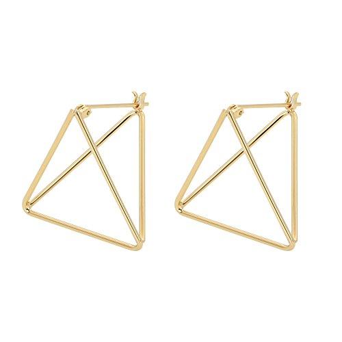 Rugewelry Geometric Triangle Earrings 18k Gold Plated Stud Earrings For Women,Girls' Gifts (Geometric Earrings)