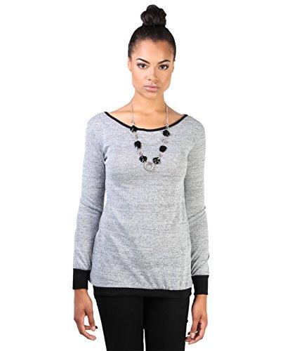 KRISP Damen Sweatshirt Rückenausschnitt_(9305-SIL-M)