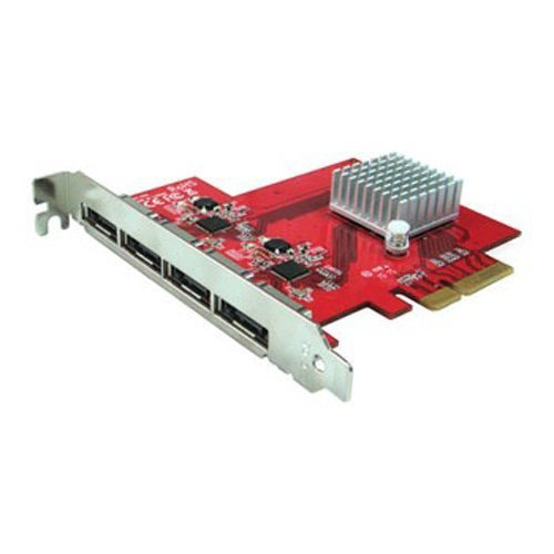 Oodelay PE-134 eSATA III 6Gbps 4 Ext Port PCI-e Host Controller for Mac/PC Port Multiplier Capable ()