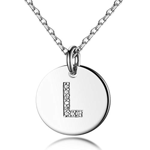(Dainty Disc Initial Necklace S925 Sterling Silver Letters L Alphabet Pendant Necklace Birthday Gift for Her)