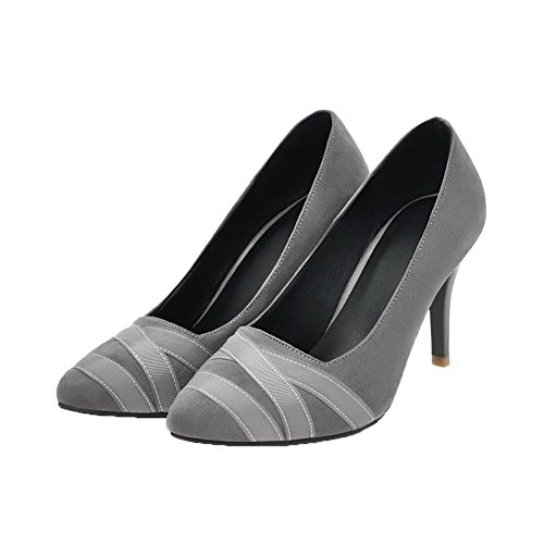 Odomolor Women's Pointed-Toe High-Heels Frosted Solid Pull-On Court Shoes Gray rGEm5