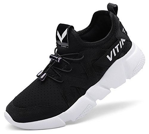 ASHION Women's Sneakers Classic Sport Shoes Mesh Outdoor Running Trainers for Girls Boys 1-Black jxLLhmbm