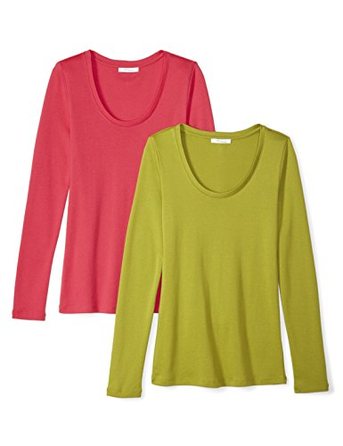 Daily Ritual Women's Midweight 100% Supima Cotton Rib Knit Long-Sleeve Scoop Neck T-Shirt, 2-Pack, L, Fuchsia/Woodbine Green -