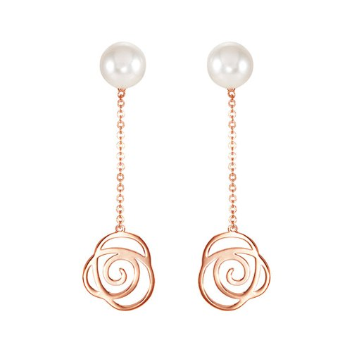 Black Bow Jewelry Freshwater Cultured Pearl Floral Design Earrings in 14k Rose Gold