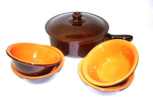 Piral, Italian Terracotta Saucepan-Bowl Set Chocolate-Rich Umber by Piral