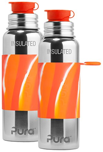Pura Sport Insulated Stainless Steel Bottle with Silicone Sport Top, 100% Plastic Free Insulated Bottle 22 Ounce, Orange Swirl - Set of 2 by Pura
