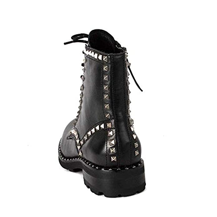 Ash Footwear Wolf Black Leather Studded Lace Up Boot 39 Nero