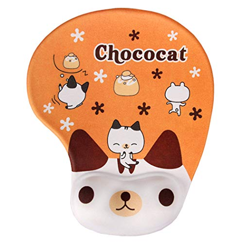 Cute Mouse Pad with Wrist Support, Lovely Animals Cat Mouse Pad Soft Cushion - Memory Foam Wrist Rest Gel Pad Non-Slip PU Base ()