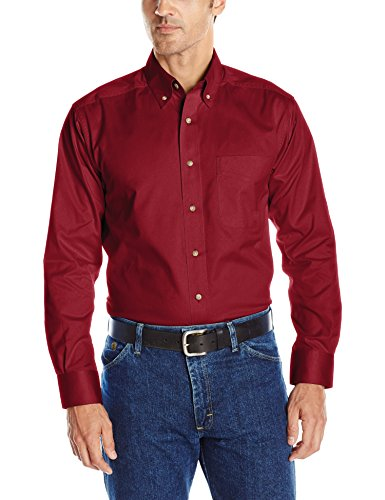 (Ariat Men's Solid Twill Shirt,Burgundy,XX-Large)