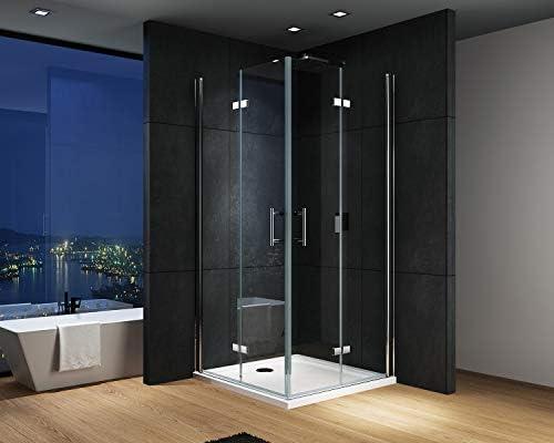 IMPTS Cabina de ducha esquinera, mampara de ducha, puerta plegable ...