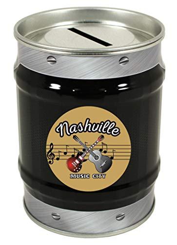 Nashville Tennessee Music City Trendy Souvenir Tin Money Bank for $<!--$7.00-->
