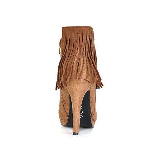 AllhqFashion Mujeres Gamuza(Imitado) Caña Baja Sólido Cremallera Tacón Alto Botas con Borlas camello