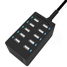 Sabrent 60 Watt (12 Amp) 10-Port Family-Sized Desktop USB Rapid Charger. Smart USB Ports with Auto Detect Technology [Black] (AX-TPCS)