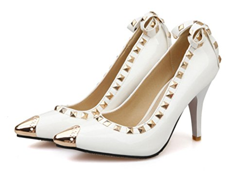 Mid Scarpe Clover eu41 white Punta Tacchi Wedding Bridal Regina Sandali Rivet Dancing 3 Sexy Donna Lucky Alti Colori a Girls Heels Party 1YxqaRdwCn