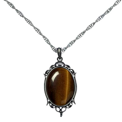 (DragonWeave Antique Silver Tiger Eye Gemstone Cabochon Pendant on Fancy Rope Chain Necklace, 24