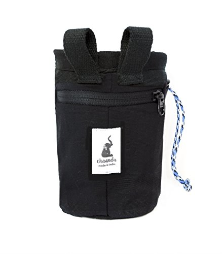 chaandu Blue Elephant Chalk Bag with Belt and Pocket for Phone, ID & More for Rock Climbing No Elastic Brush Holder