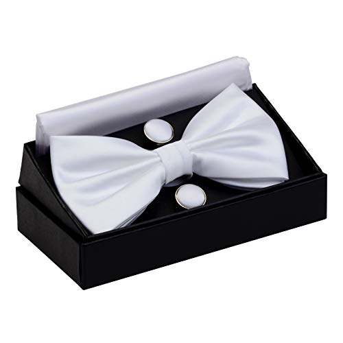 GUSLESON Solid Color Wedding Bowtie Mens Pre-tied White Bow Tie and Pocket Square Cufflink Set (0570-14) -