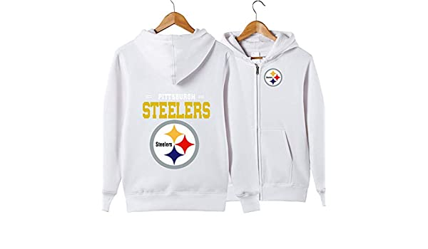 a1c9785dc JJCat Men s Long Sleeve Hooded Letters Print Pittsburgh Steelers Football  Team Solid Color Zipper Hoodies at Amazon Men s Clothing store