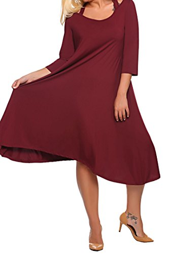 Party Size IN'VOLAND Bridesmaid Club Casual Plus Red4 Dresses Vintage Women's Dresses Cocktail Evening Midi Outfit Swing UnqAPnwfx