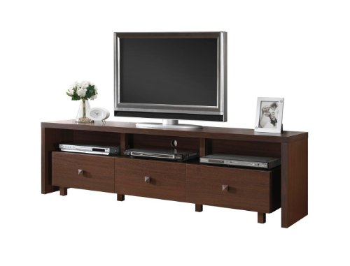 Modern Italian Style Brown Espresso Walnut Wooden TV Media Stand for 70 in TV Includes Modhaus Living (TM) Pen