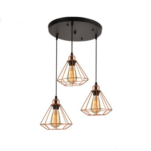 CGJDZMD Nordic Postmodern Diamond Metal Pendant Light Fixture Restaurant LED Height Adjustable Ceiling Lights Chandelier Cafe Wine Cellar 1 Head/3 Heads Iron Cage Pendant Lamp (Size : B(3-head)) -
