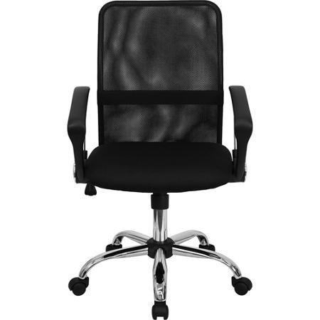 Mesh Computer Task Chair with Chrome Base, Black Enhance an