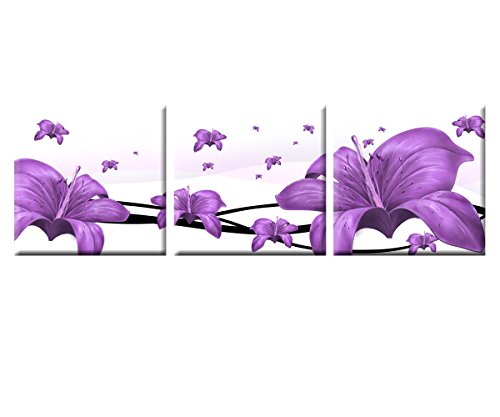 IN SUNSHINE Art Deco Modern Abstract Wall Art Painting on Canvas (No Framed) with the Purple Lily with No Inside Frame and No Outside Frame