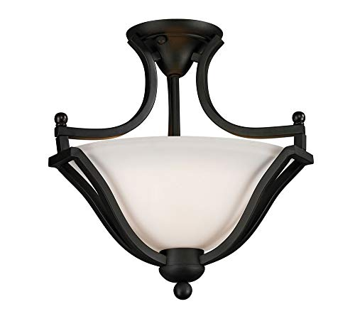 Z-Lite 703SF-MB Lagoon Two Light Semi-Flush Mount, Steel Frame, Matte Black Finish and Matte Opal Shade of Glass Material