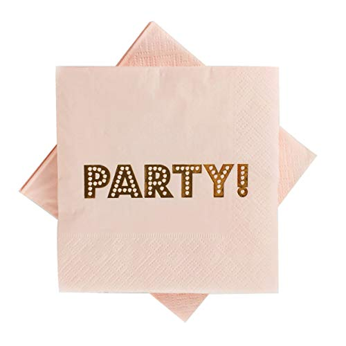 Pink Party Cocktail Napkins 100 Counts 3-Ply 5'' Rose Gold Foil Paper Napkins for Birthday Party Decorations Graduation Bridal Shower Wedding Weekend Party Anniversary(Pink with rose Gold Foil Party) ()