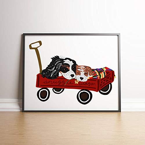 - MalertaART Printable King Charles Spaniels in Wagon King Charles Dog Art Spaniel Dog Print Cavalier King Charles Snuggling Dogs in Wagon Art Framed Wall Art