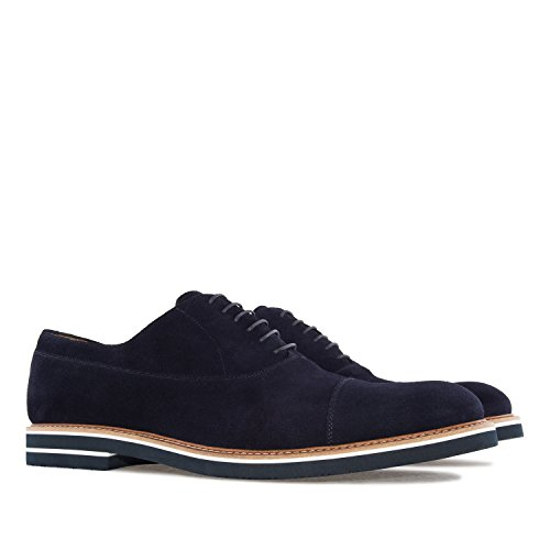 Andres Machado.6284.Oxford Shoes In Split Leather.Made In Spain.Mens Large Sizes: US M13 To M16 Blue Split Leather Wl9Ydrupv4