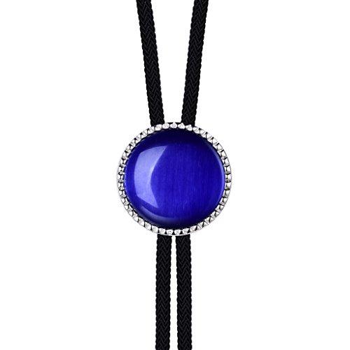 MASOP Fashion Naked Blue Stone Nylon String Silver Tone Bolo Tie for Women (Bolo Tie Women)