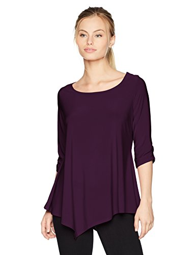 Star Vixen Women's Petite Elbow-Cinch Sleeve Hanky Hem Top, Plum Solid, PS