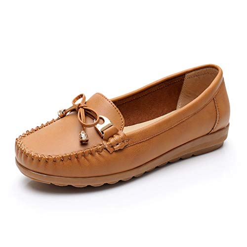 Toimothcn Women Penny Loafers Split Leather Slip-On Comfortable Driving Moccasins Flats Ballet Shoes(Brown2,US:7)