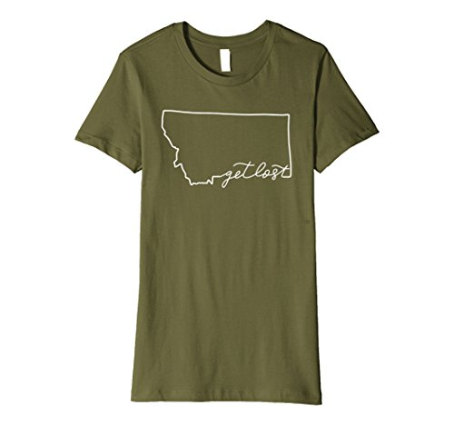 Womens Montana Get Lost T Shirt Gift Travel Adventure Wanderlust Large Olive