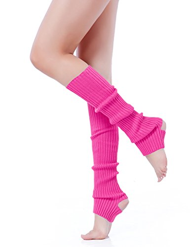 V28 Women Girls Neon Pink Stirrup Ribbed for 80s Party Yoga Leg Warmers (Hole Rose) (80s Disco Outfits)