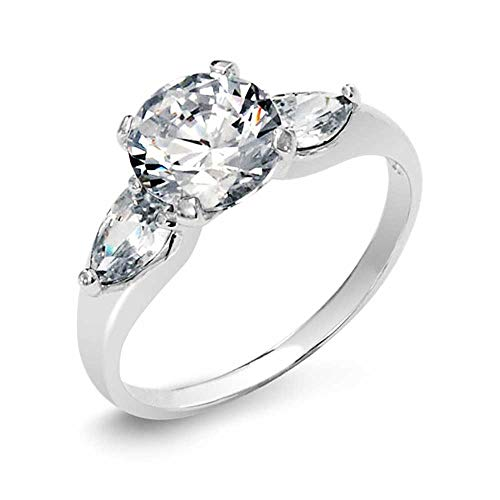 3CT Round Cubic Zirconia Solitaire Trillion Side Stones Promise AAA CZ Engagement Ring 925 Sterling Silver For Women
